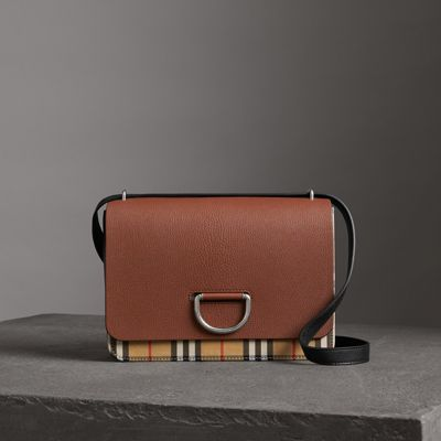 Medium D-Ring Vintage Check & Leather Crossbody Bag - Brown, Tan/Black from BURBERRY