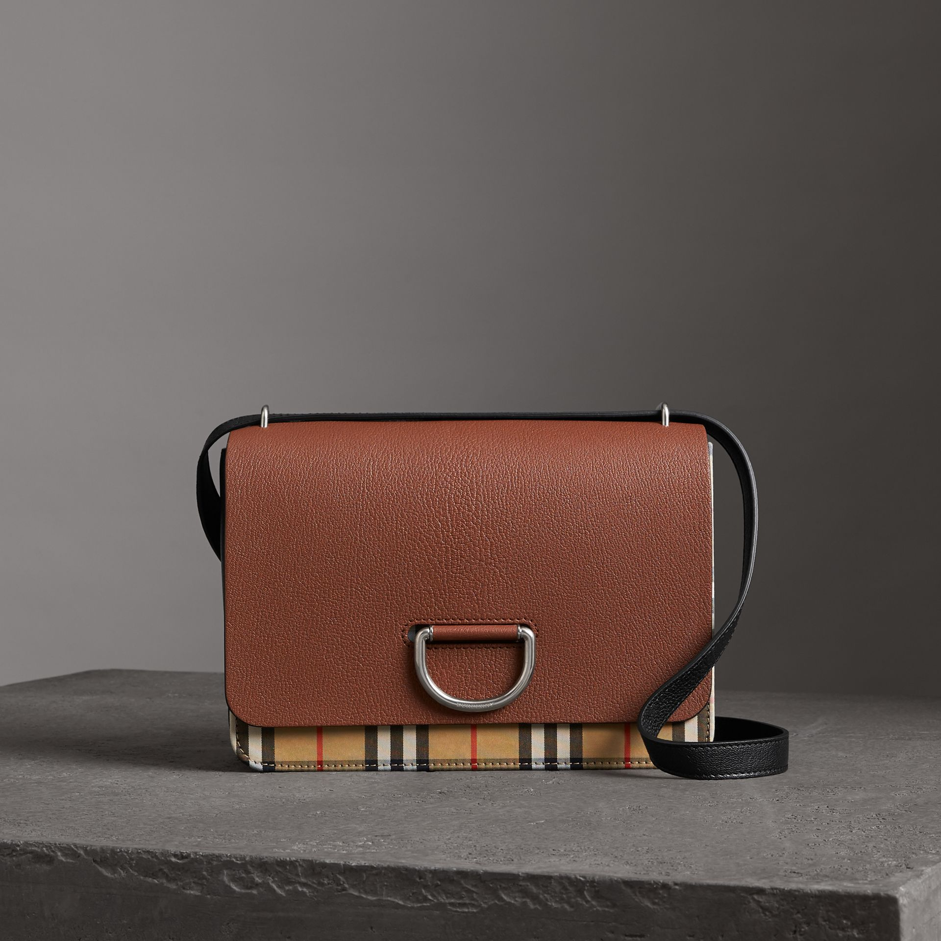 The Medium Vintage Check and Leather D-ring Bag in Tan/black - Women | Burberry - gallery image 0