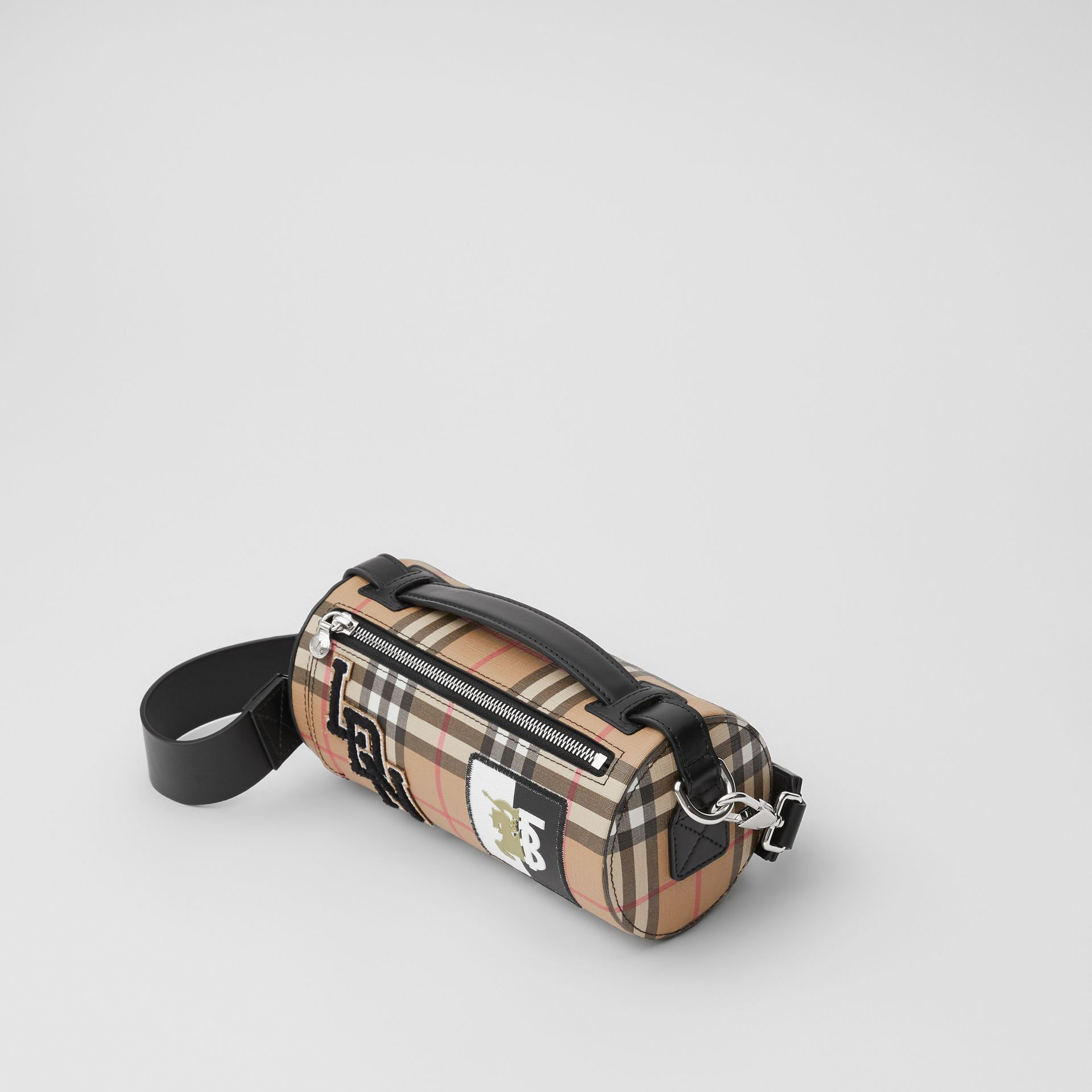 The Vintage Check E-canvas and Leather Barrel Bag in Archive Beige - Women | Burberry United States - gallery image 3