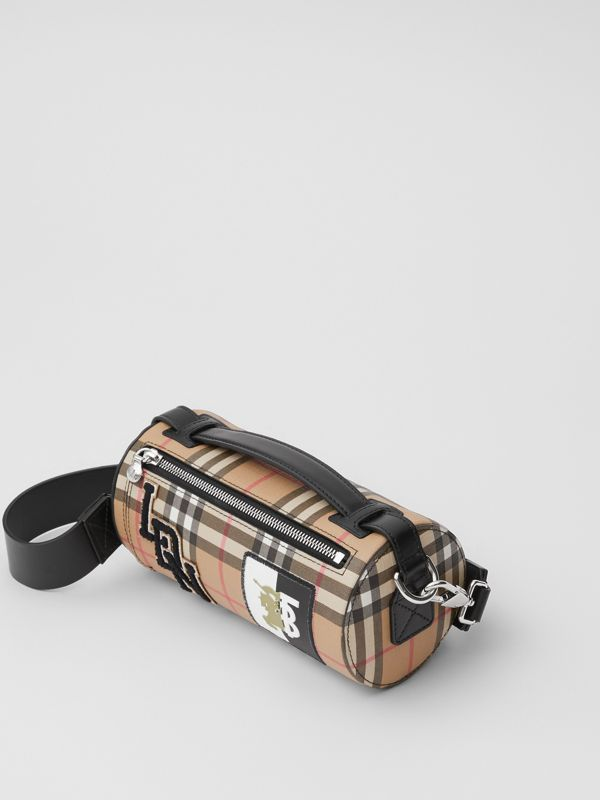 The Vintage Check E-canvas and Leather Barrel Bag in Archive Beige - Women | Burberry United States - cell image 3