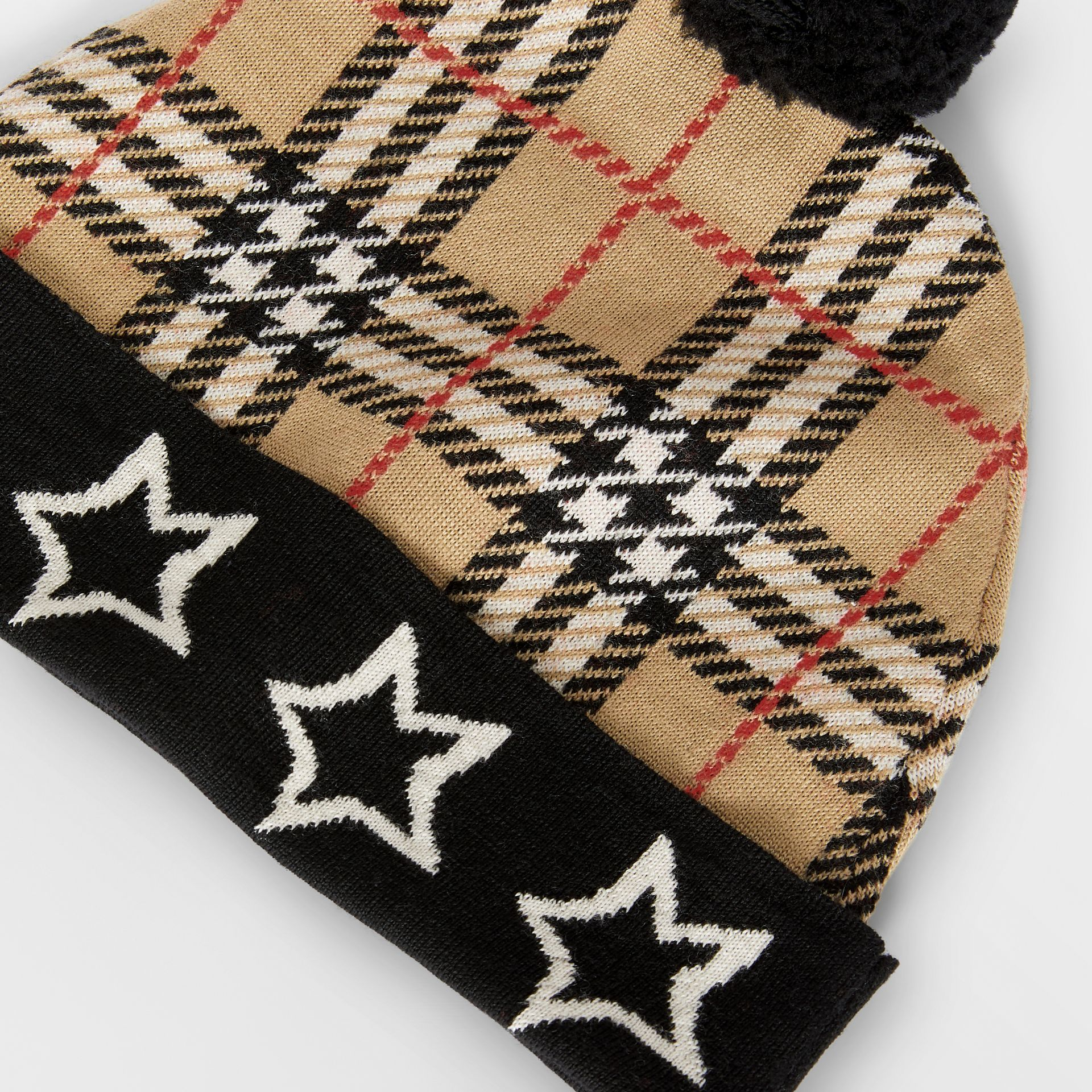 Star Detail Check Merino Wool Jacquard Beanie in Archive Beige - Children | Burberry Australia - gallery image 1