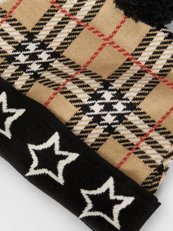 Star Detail Check Merino Wool Jacquard Beanie in Archive Beige - Children | Burberry - cell image 1