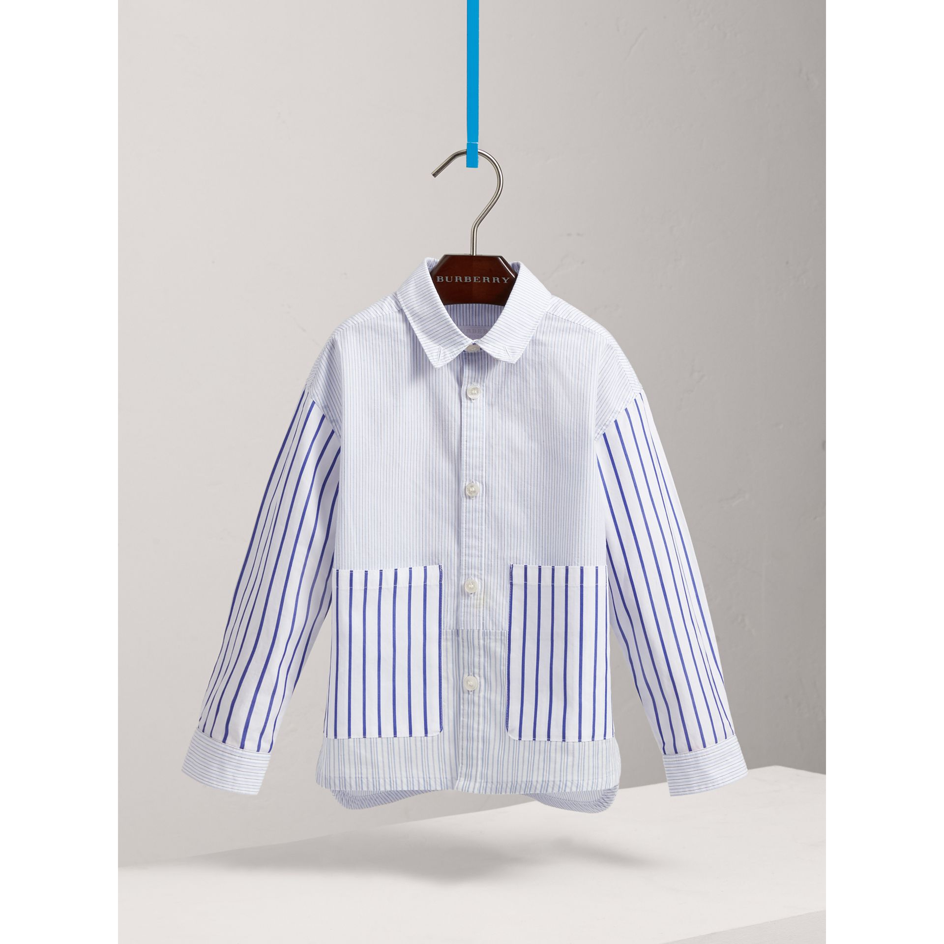 Contrast Stripe Cotton Shirt in Light Blue - Boy | Burberry - gallery image 0