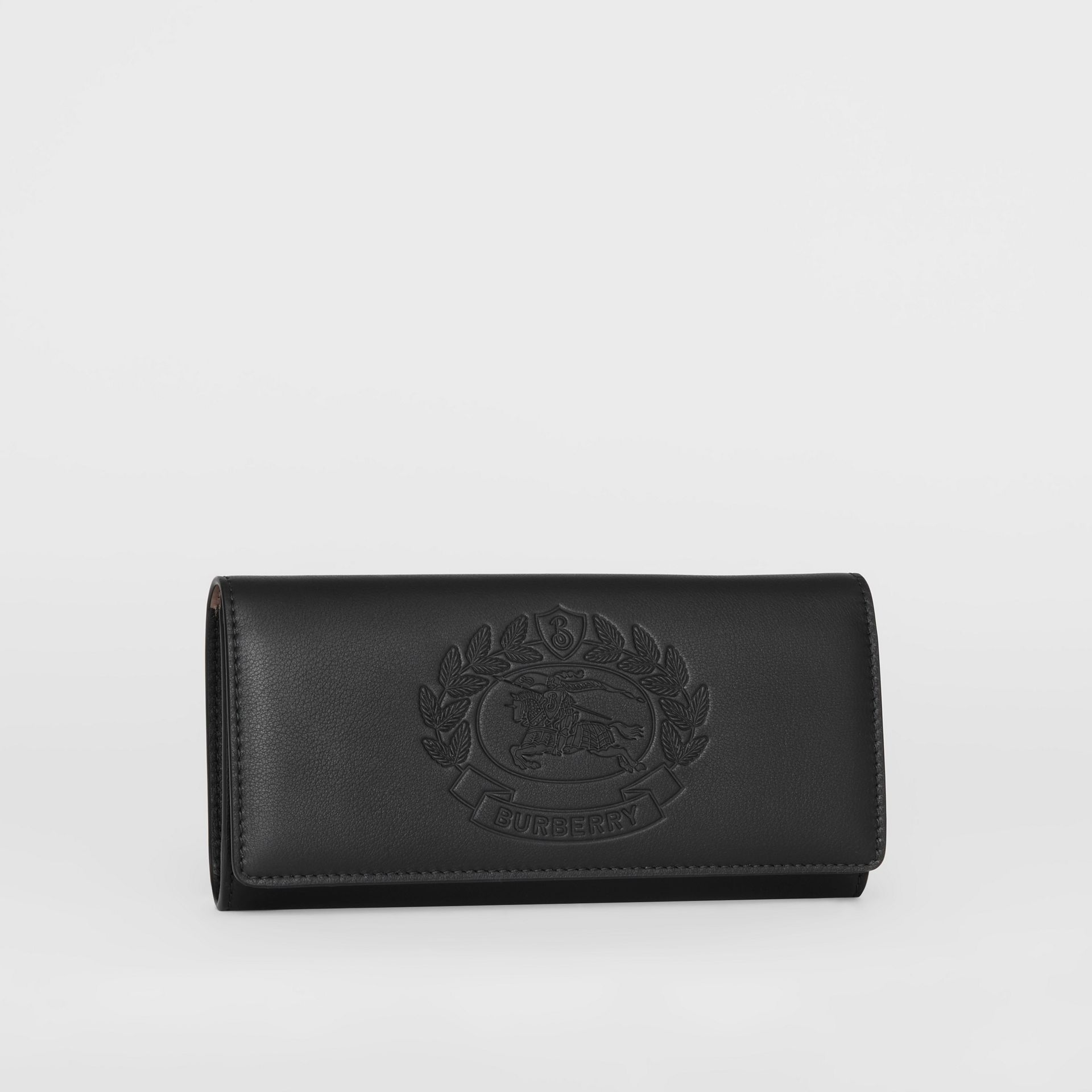 Embossed Crest Two-tone Leather Continental Wallet in Black - Women | Burberry Canada - gallery image 4