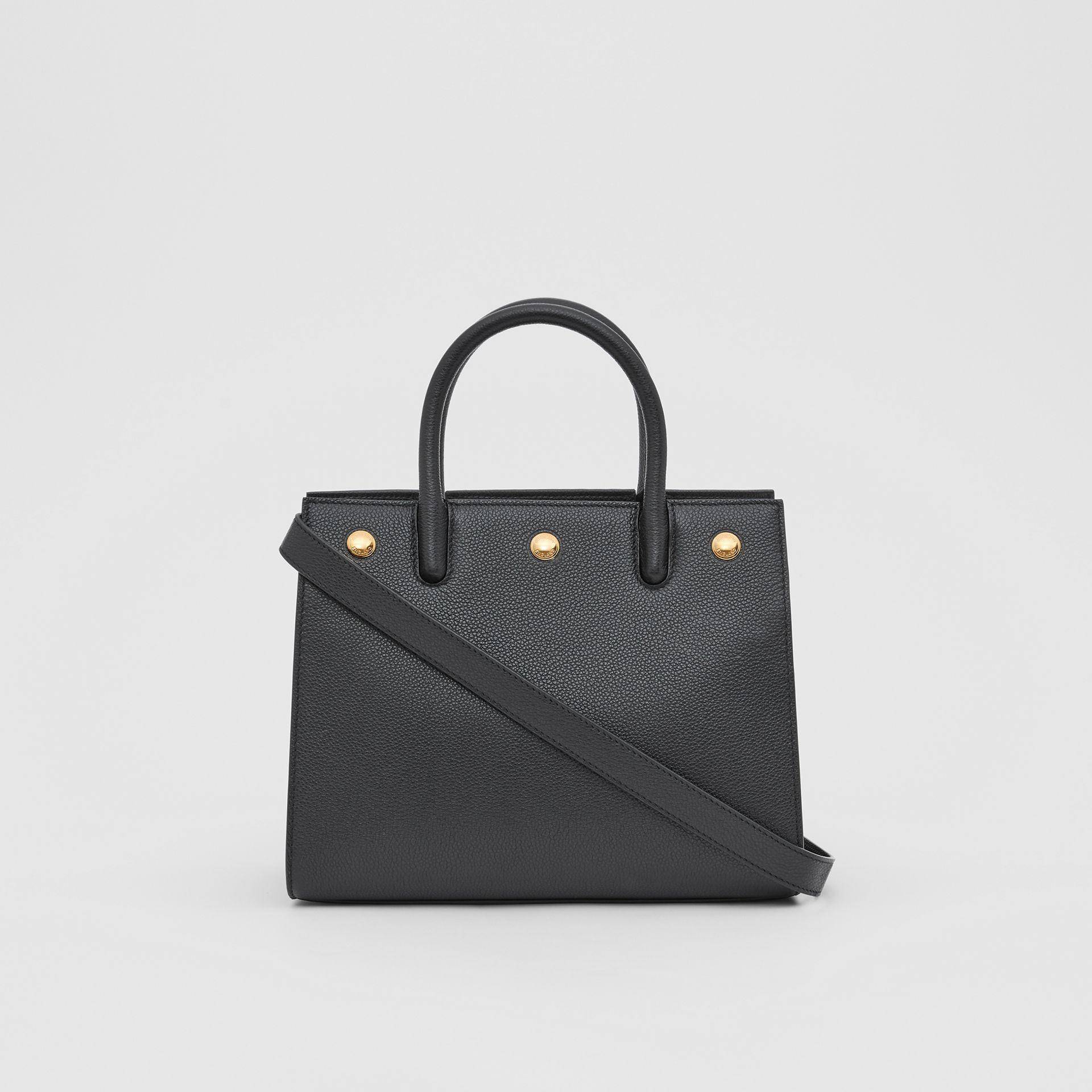 Mini Leather Two-handle Title Bag in Black - Women | Burberry - gallery image 7