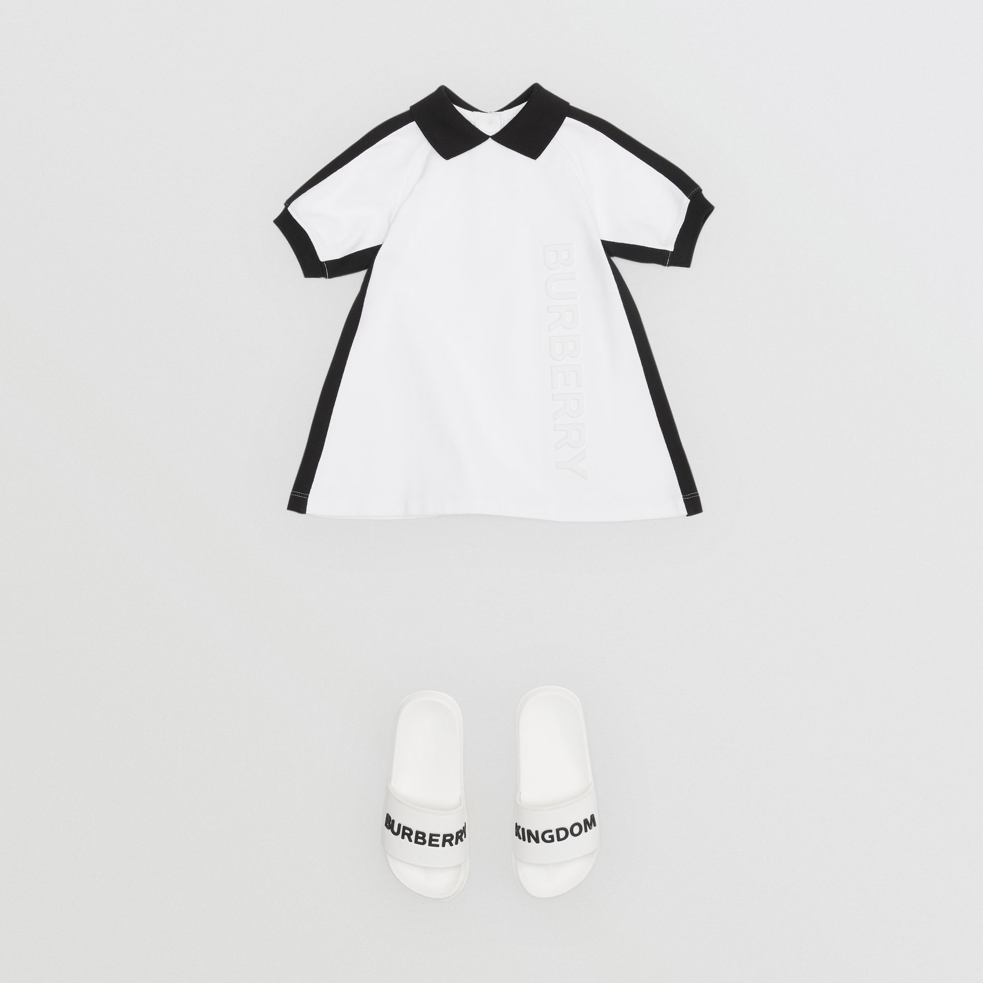 Embossed Logo Cotton Polo Dress in White - Children | Burberry - gallery image 2
