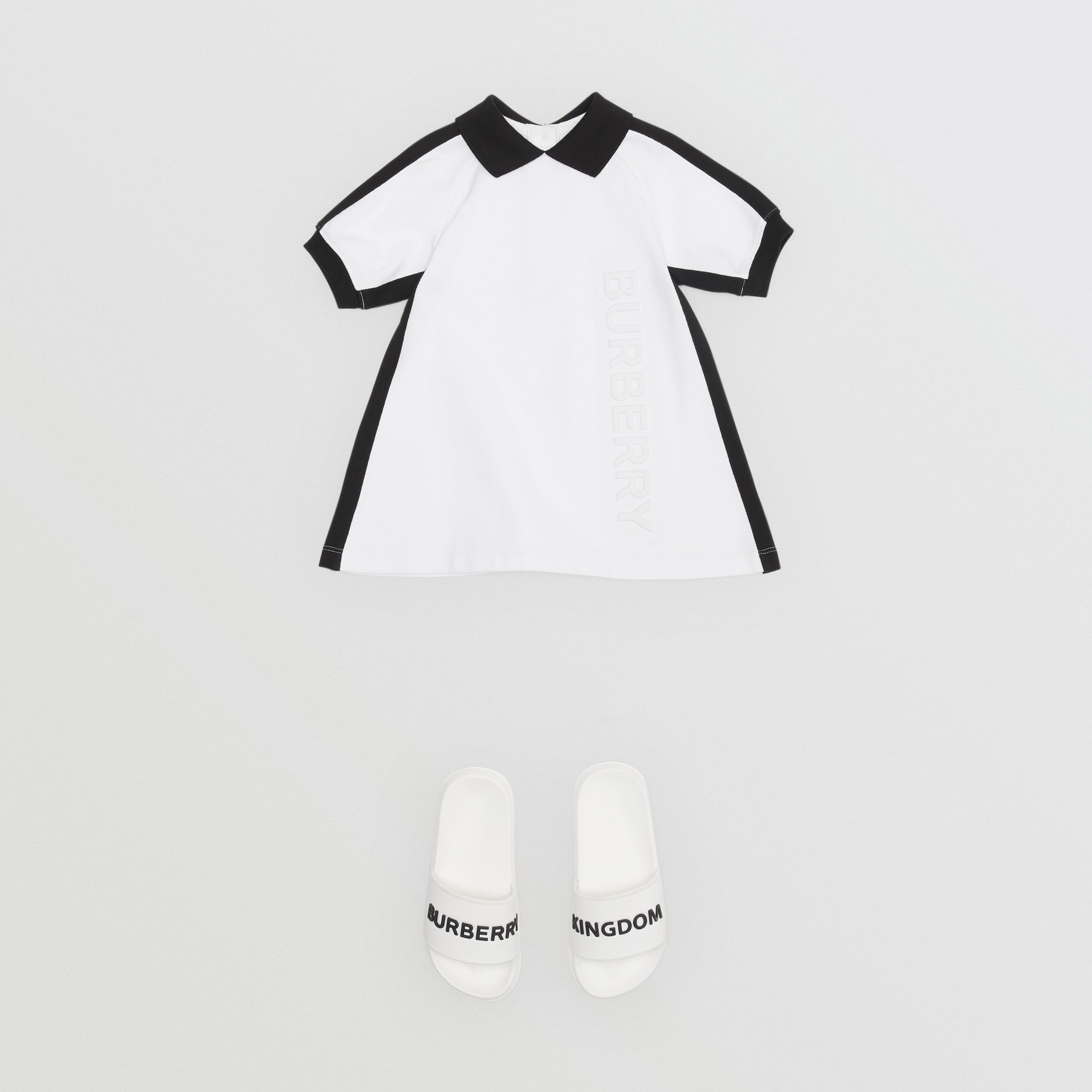 Embossed Logo Cotton Polo Dress in White | Burberry - 3