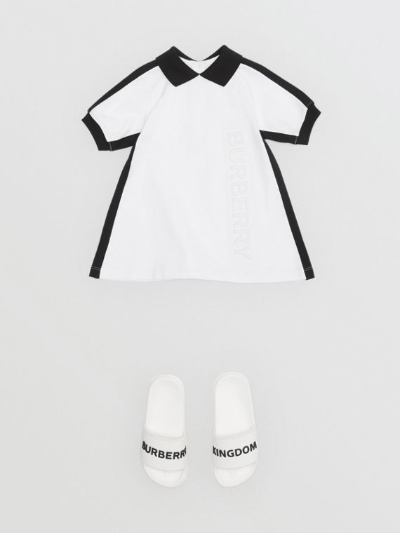 Embossed Logo Cotton Polo Dress in White