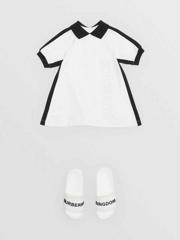 Embossed Logo Cotton Polo Dress in White - Children | Burberry United States - cell image 2