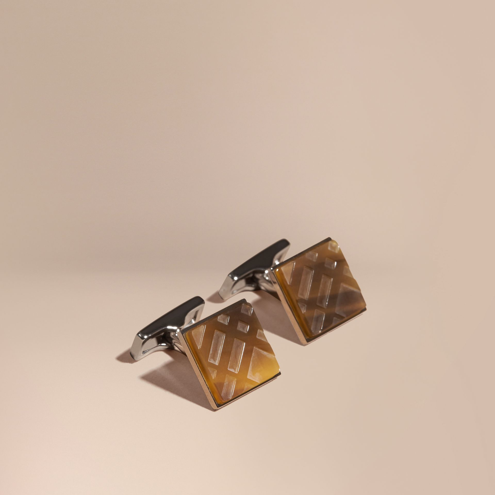 Brown Check-engraved Square Cufflinks - gallery image 1