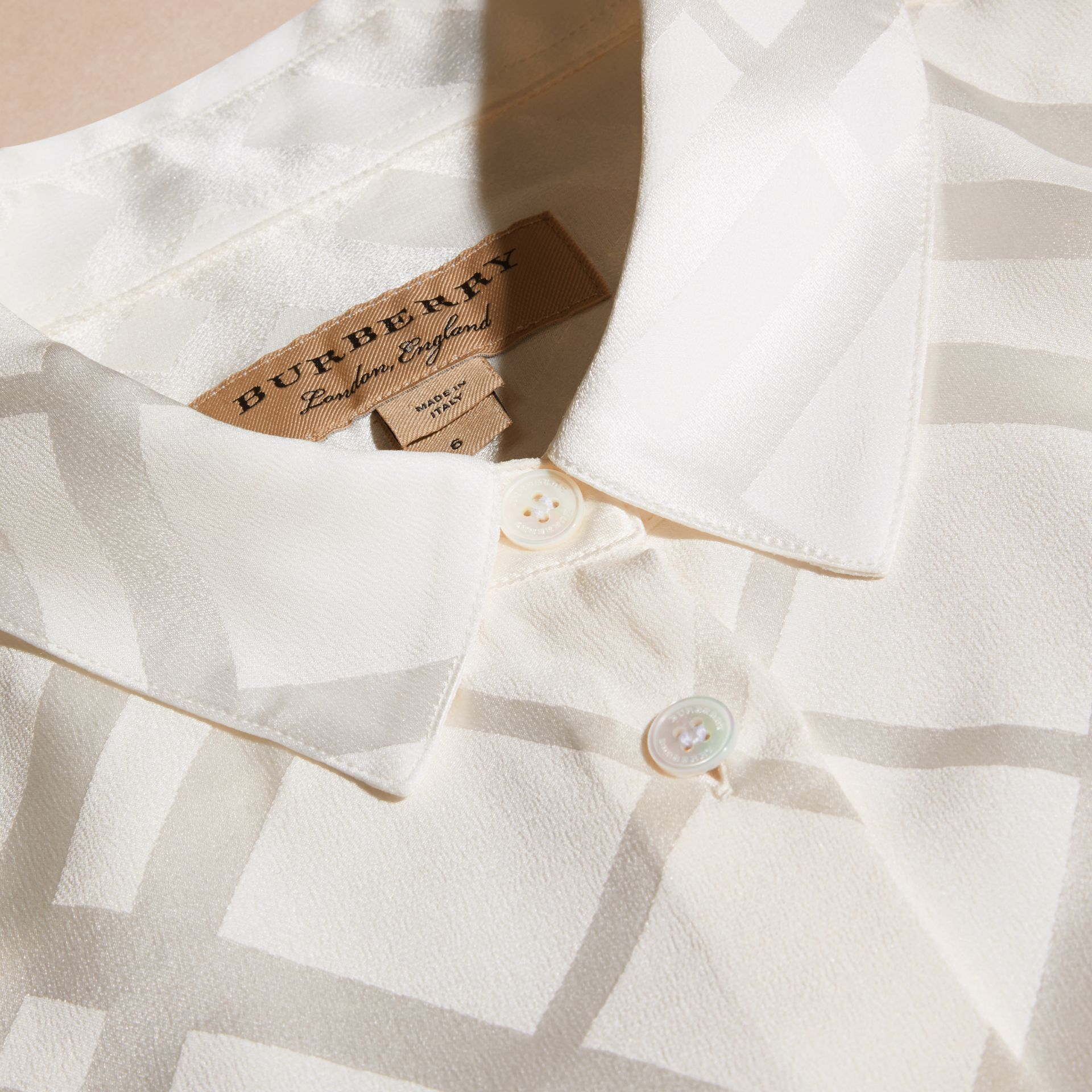 Tonal Check Silk Shirt White - gallery image 2