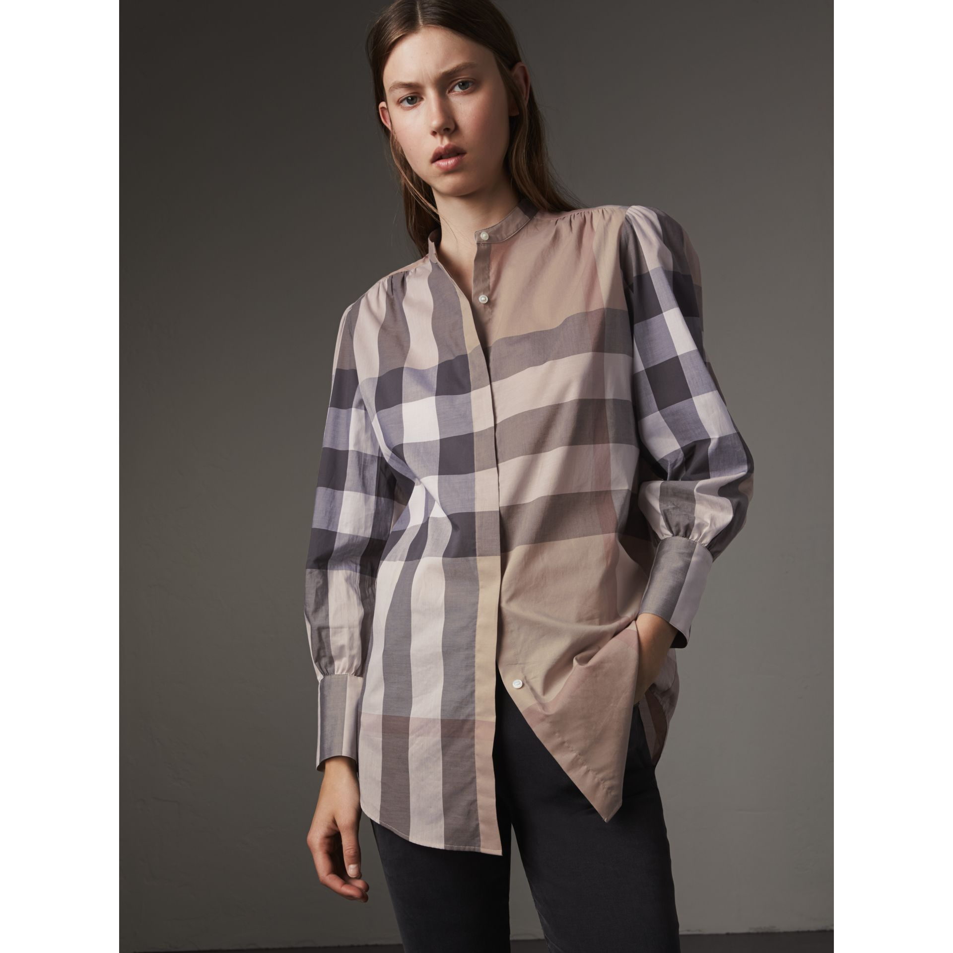 Grandad Collar Check Cotton Tunic Shirt in Pale Stone - Women | Burberry - gallery image 4
