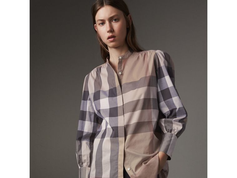 Grandad Collar Check Cotton Tunic Shirt in Pale Stone - Women | Burberry - cell image 4
