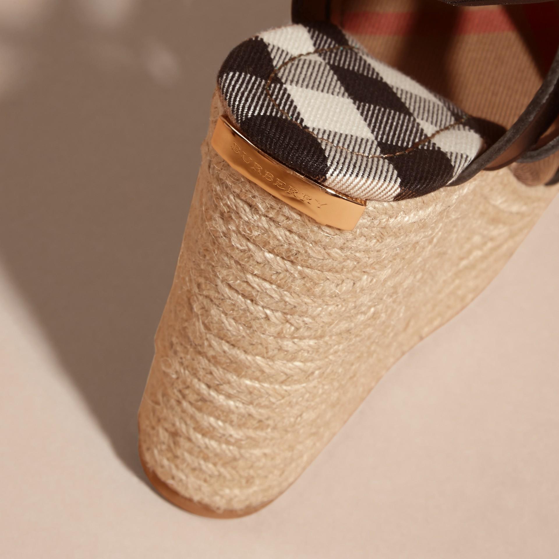 Leather Platform Espadrille Wedge Sandals - gallery image 2