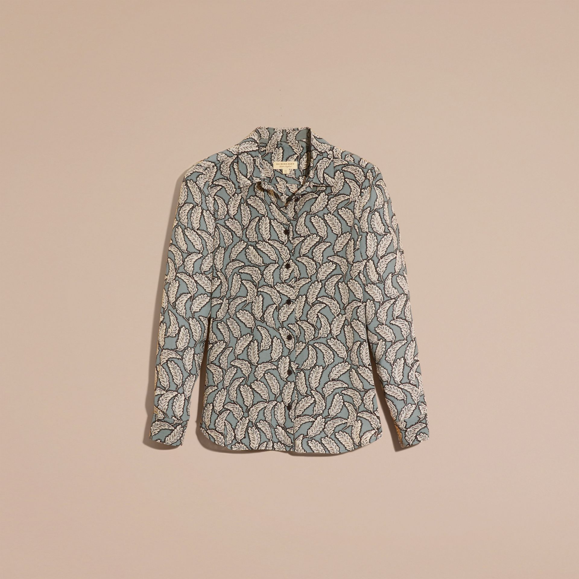 Stone blue Leaf Print Silk Shirt Stone Blue - gallery image 4