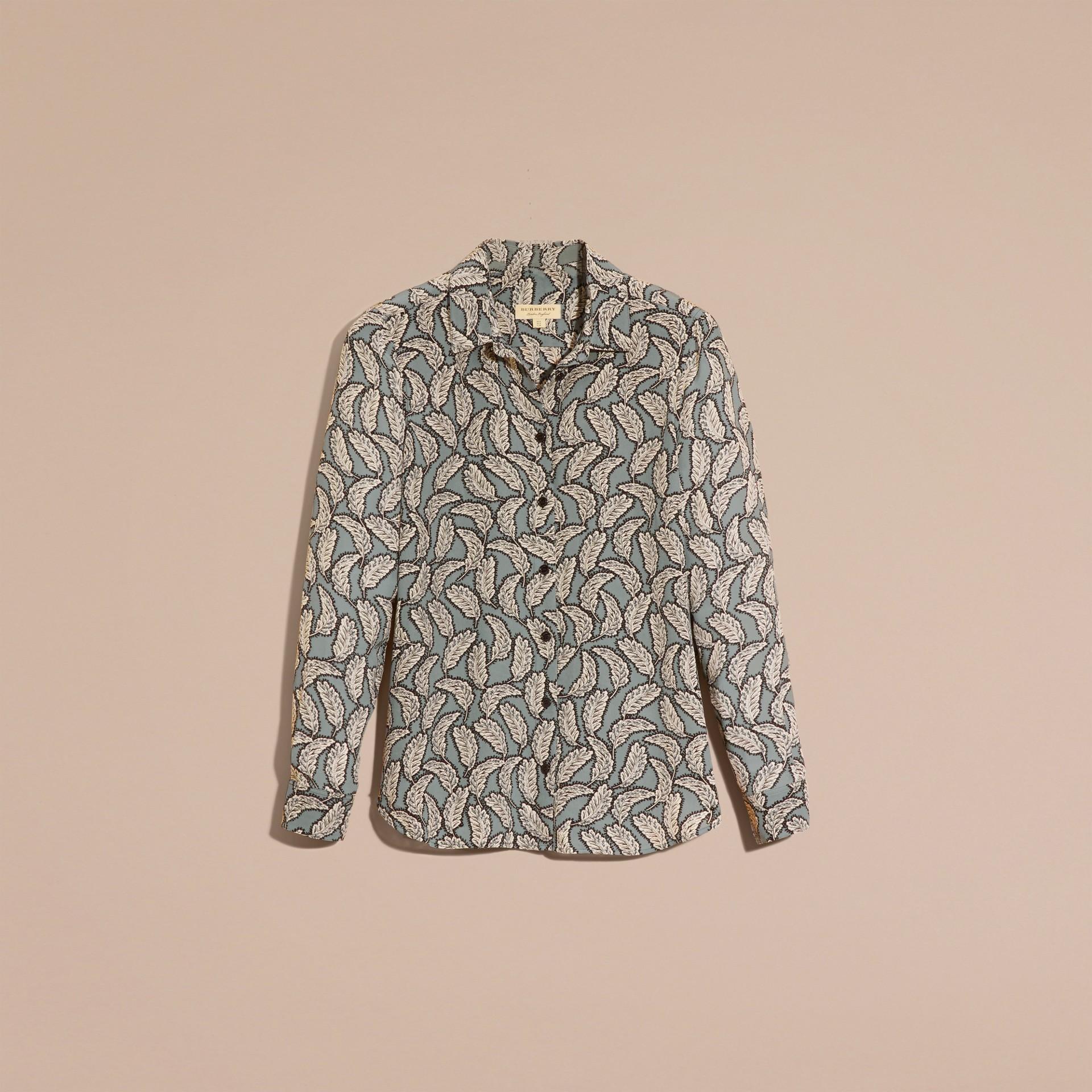 Stone blue Camisa de seda com estampa de folhas Stone Blue - galeria de imagens 4