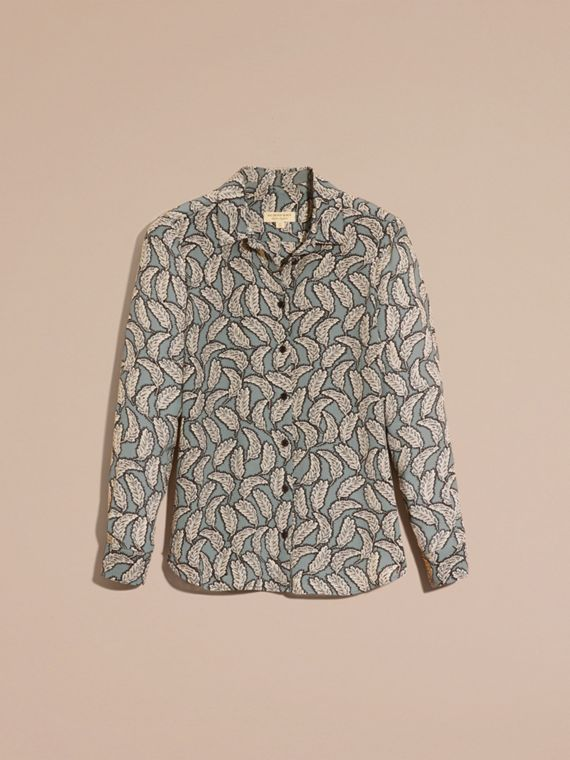Stone blue Leaf Print Silk Shirt Stone Blue - cell image 3