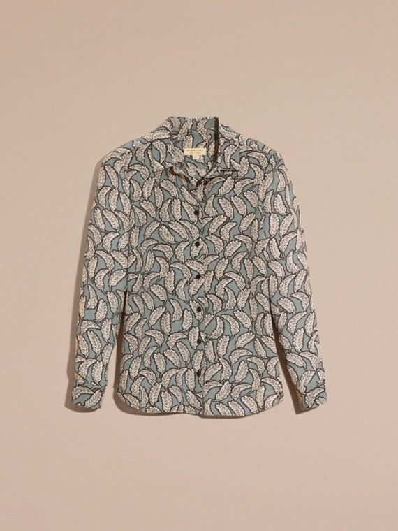 Stone blue Camisa de seda com estampa de folhas Stone Blue - cell image 3