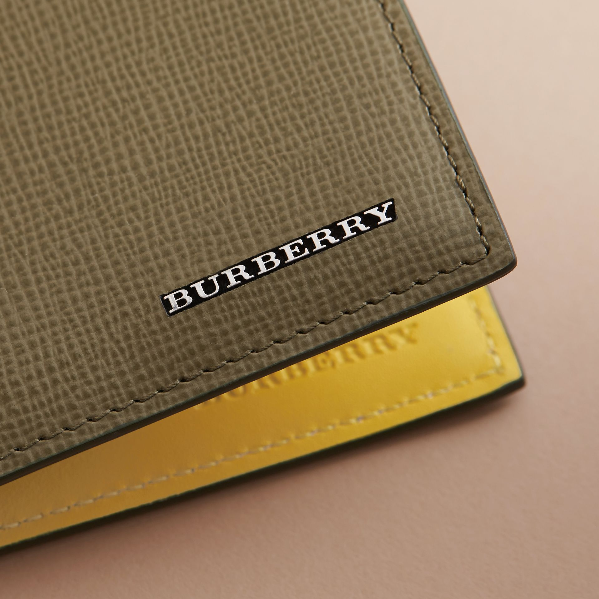 London Leather Folding Wallet in Olive Green | Burberry - gallery image 5