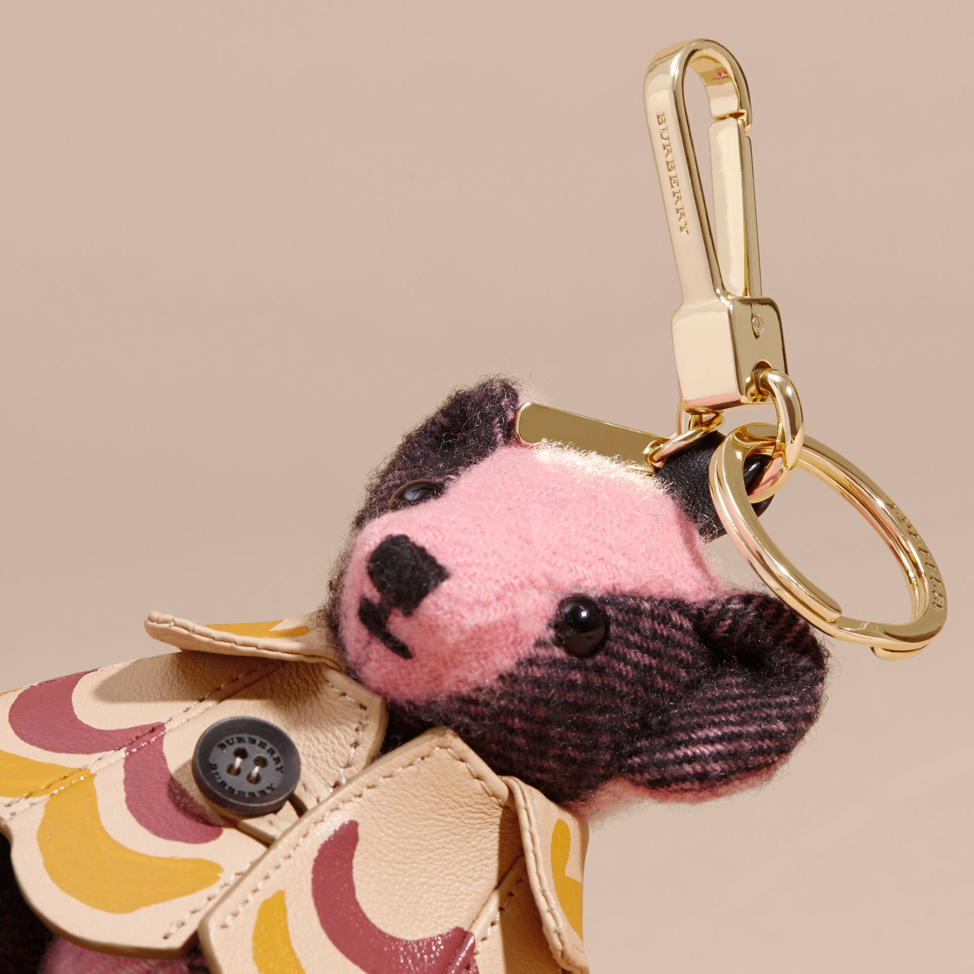 Thomas Bear Charm in Trompe L'oeil Print Cape in Rose Pink - Women | Burberry Australia - gallery image 2