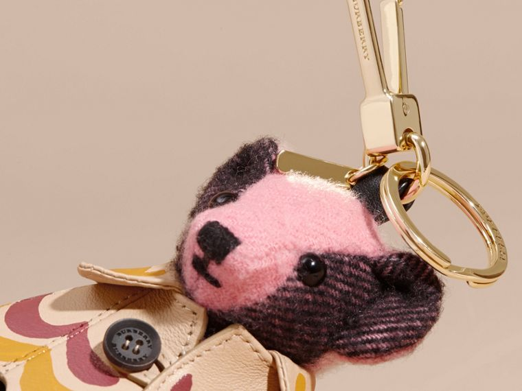 Thomas Bear Charm in Trompe L'oeil Print Cape in Rose Pink - Women | Burberry - cell image 1