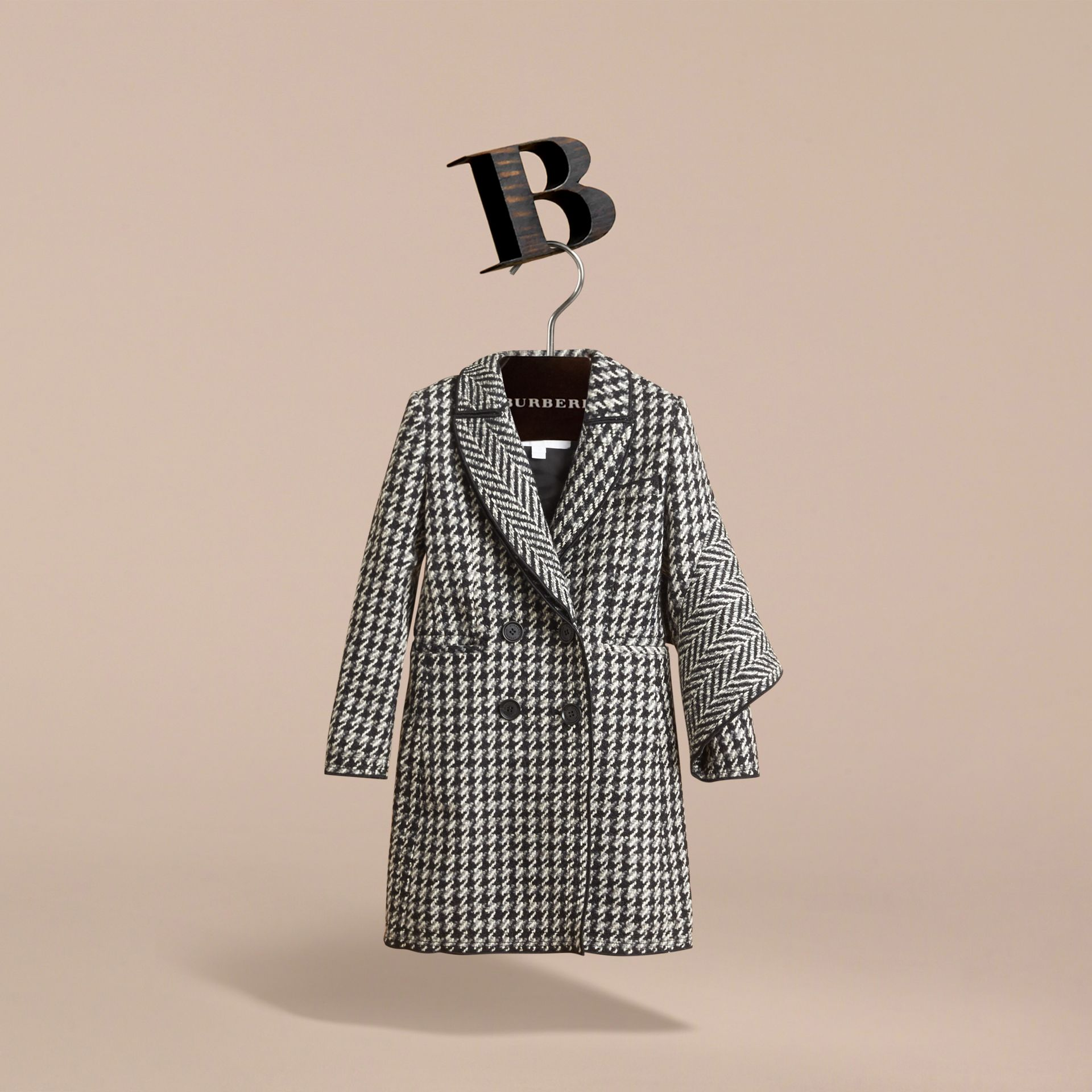 Sculptural Panel Tailored Houndstooth Wool Coat - Girl | Burberry - gallery image 3