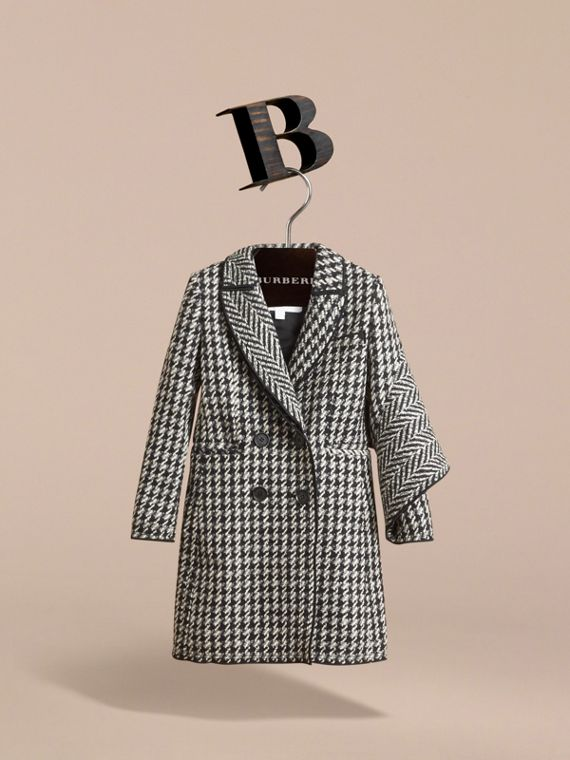 Sculptural Panel Tailored Houndstooth Wool Coat - Girl | Burberry - cell image 2