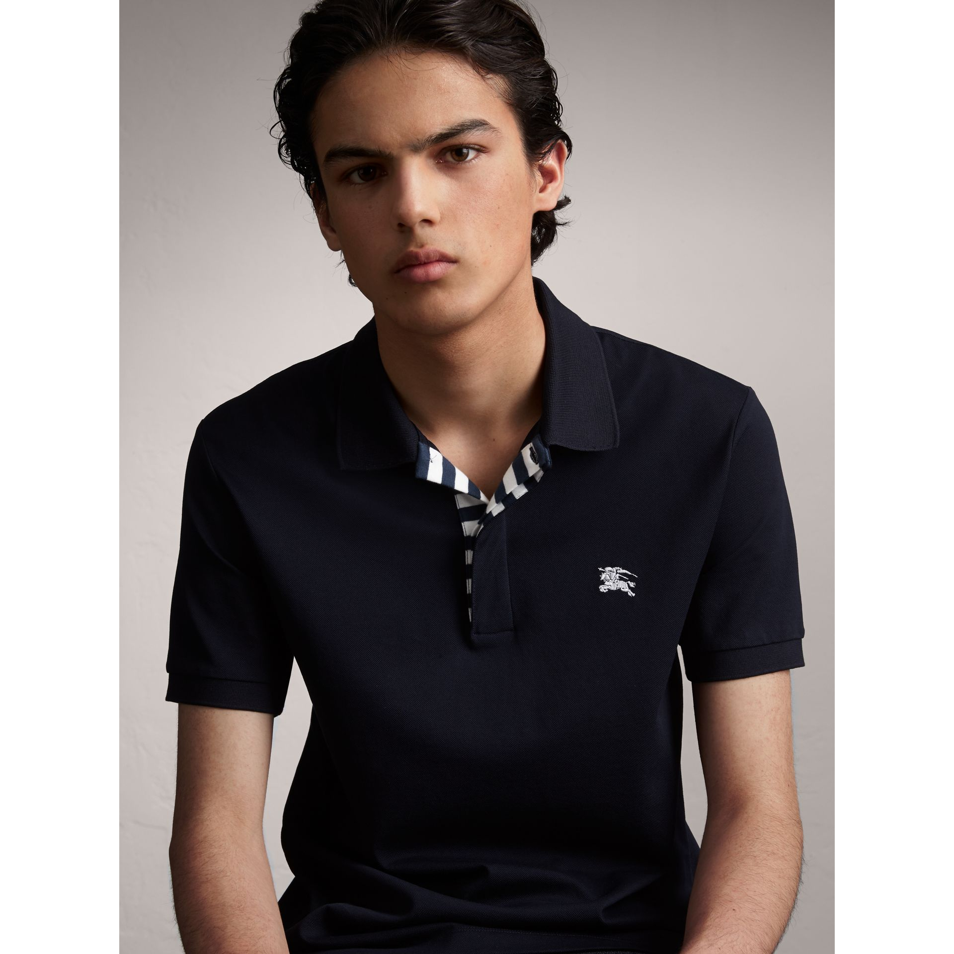 Striped Placket Cotton Piqué Polo Shirt in Navy - Men | Burberry - gallery image 6
