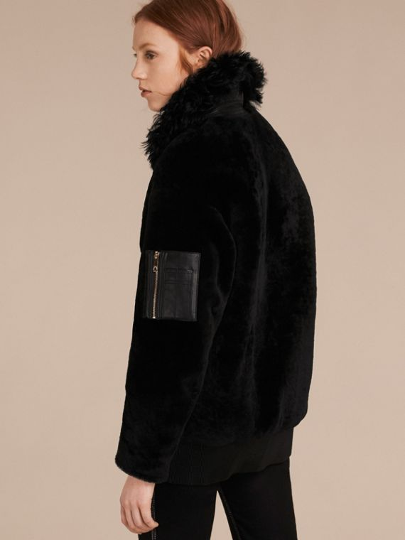 Black Shearling Bomber Jacket - cell image 2