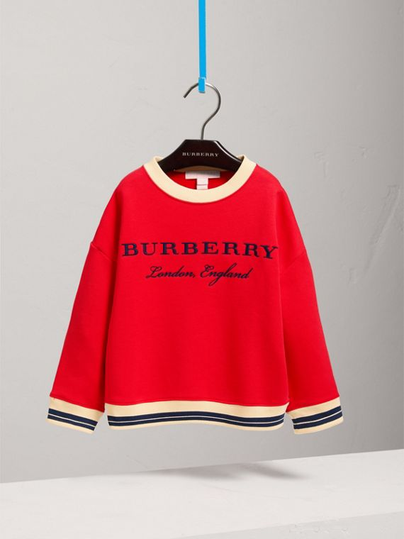 Striped Hem Embroidered Cotton Jersey Sweatshirt in Bright Orange Red
