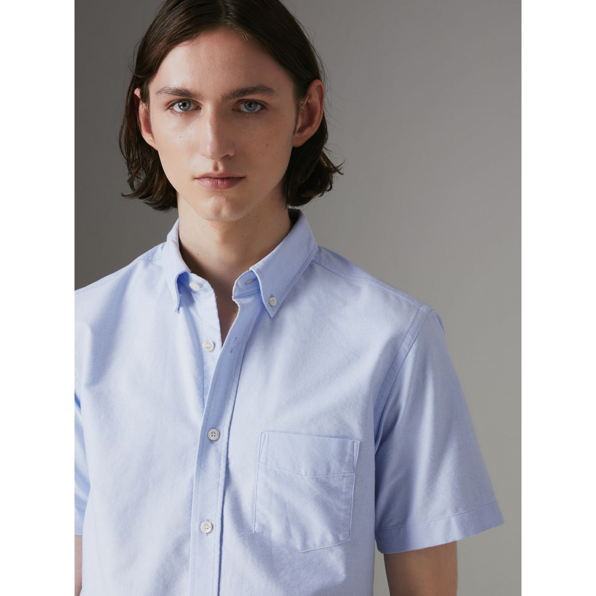 Short-sleeve Cotton Oxford Shirt in Cornflower Blue - Men | Burberry - gallery image 1