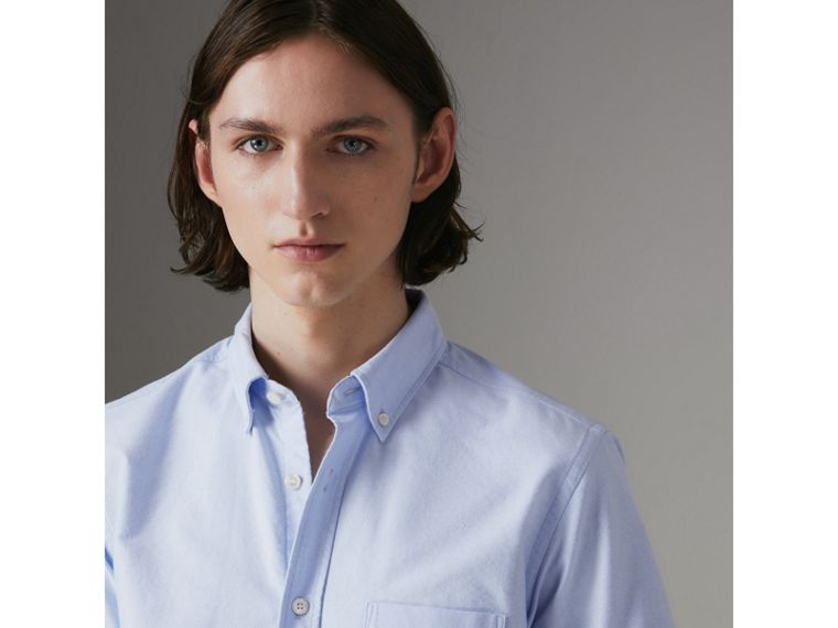 Short-sleeve Cotton Oxford Shirt in Cornflower Blue - Men | Burberry Hong Kong - cell image 1