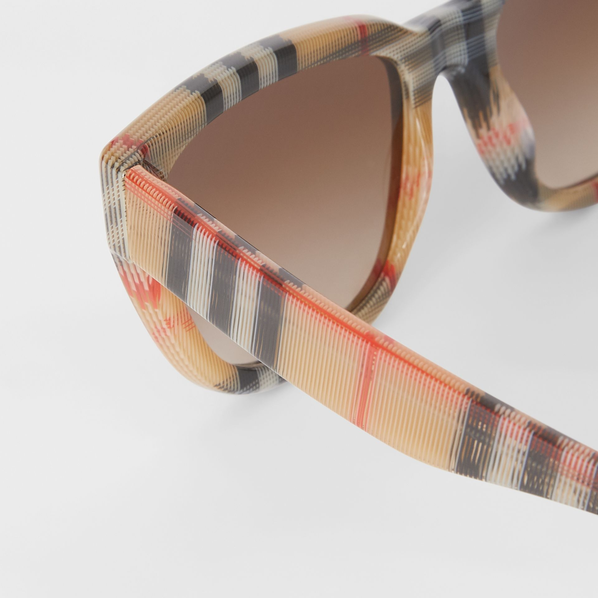 Vintage Check Detail Square Frame Sunglasses in Antique Yellow - Women | Burberry Canada - gallery image 1