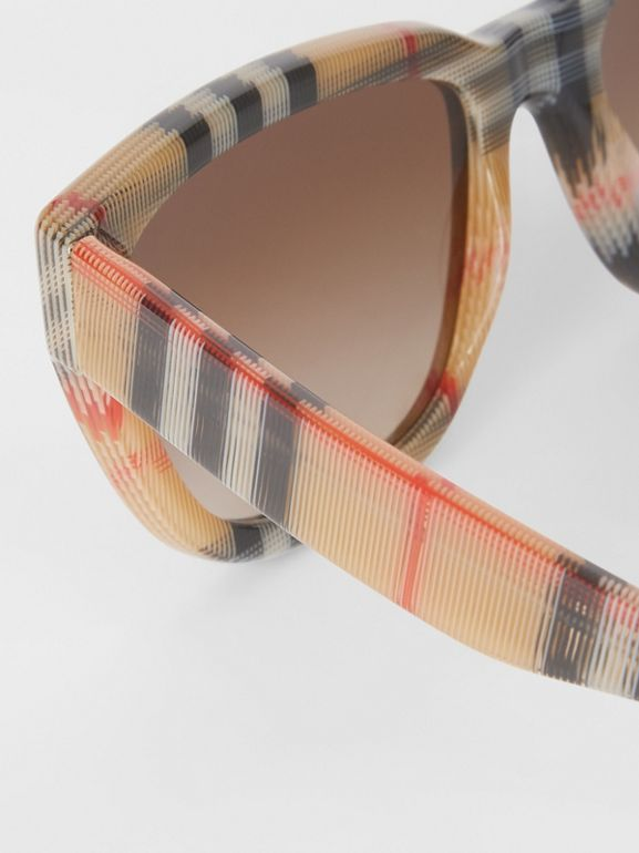 Vintage Check Detail Square Frame Sunglasses in Antique Yellow - Women | Burberry Hong Kong - cell image 1