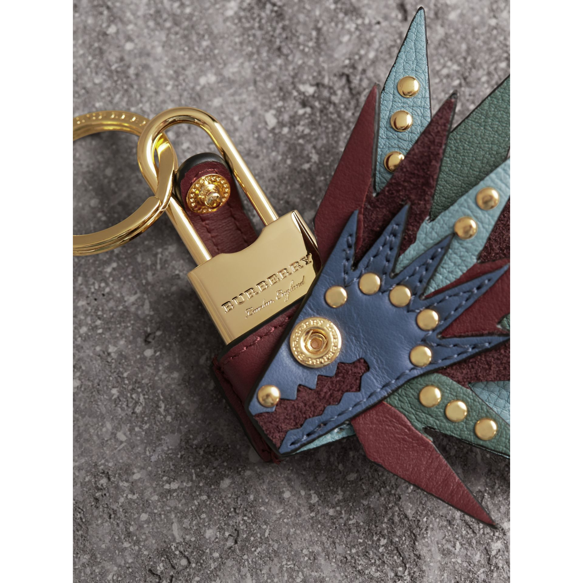 Beasts Leather Key Charm and Padlock in Steel Blue - Women | Burberry - gallery image 2