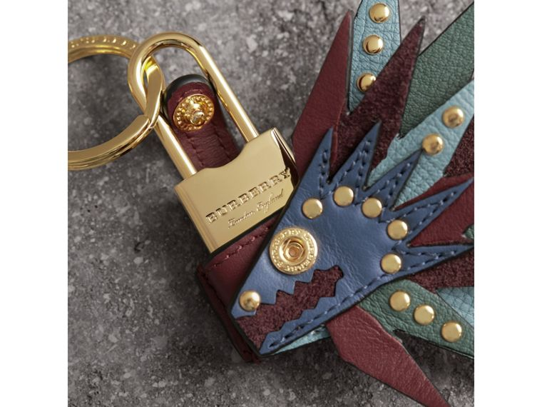 Beasts Leather Key Charm and Padlock in Steel Blue - Women | Burberry - cell image 1