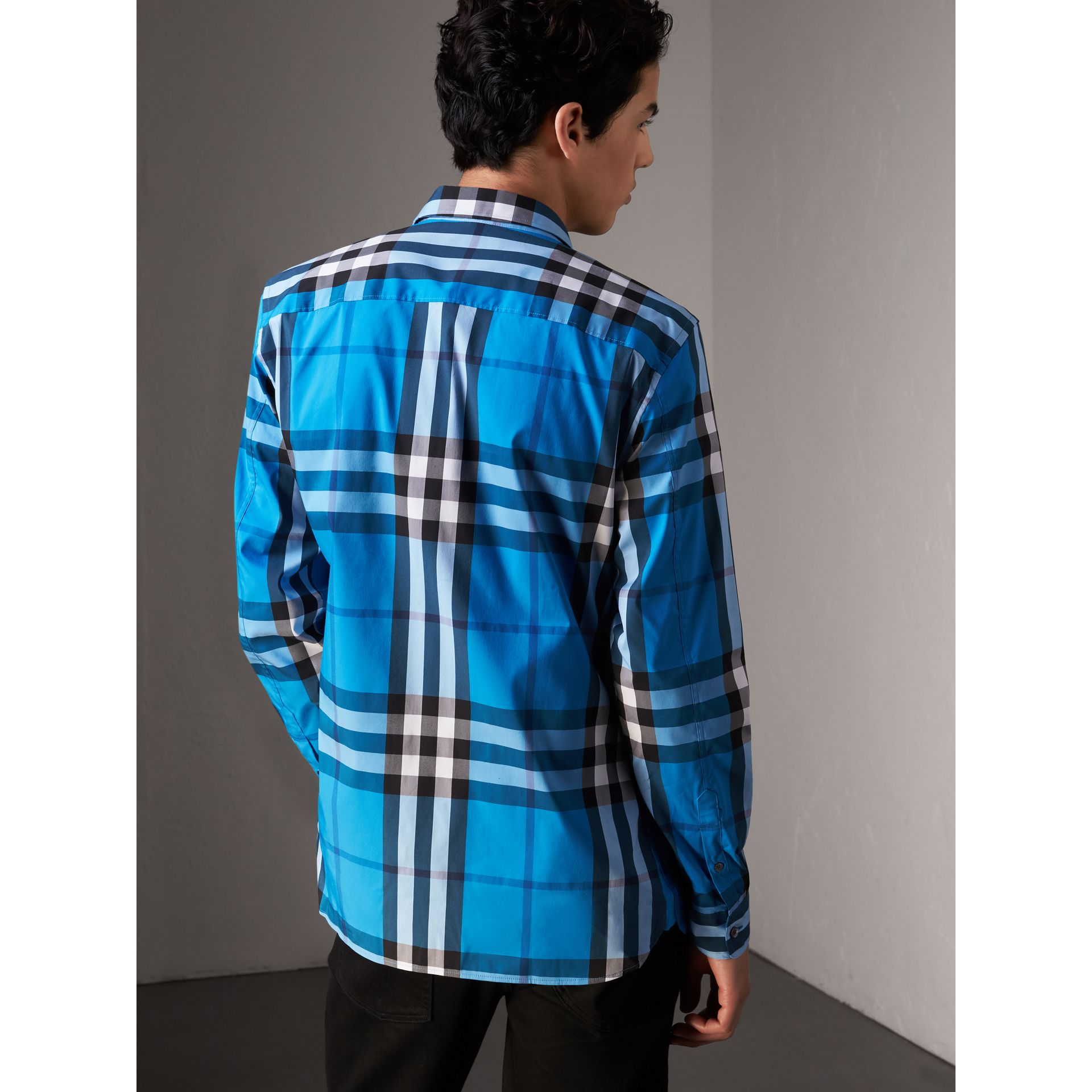 Check Stretch Cotton Shirt in Bright Blue - Men | Burberry Singapore - gallery image 2
