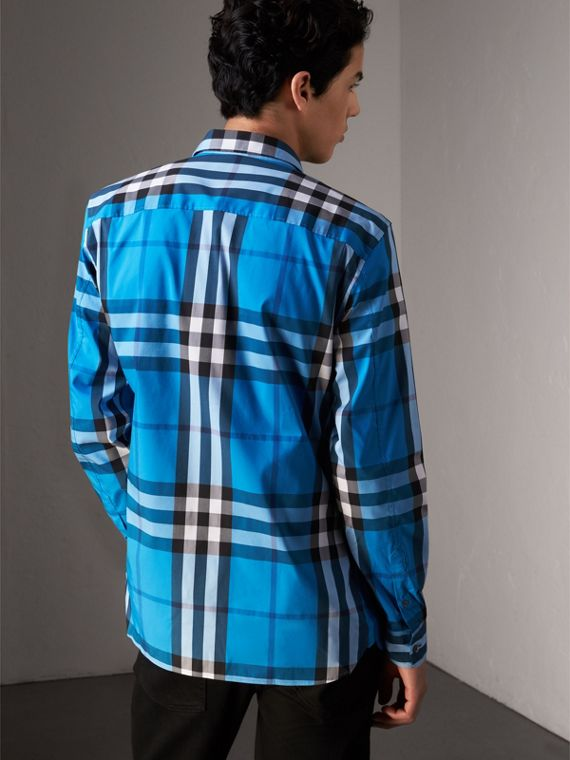 Check Stretch Cotton Shirt in Bright Blue - Men | Burberry United Kingdom - cell image 2