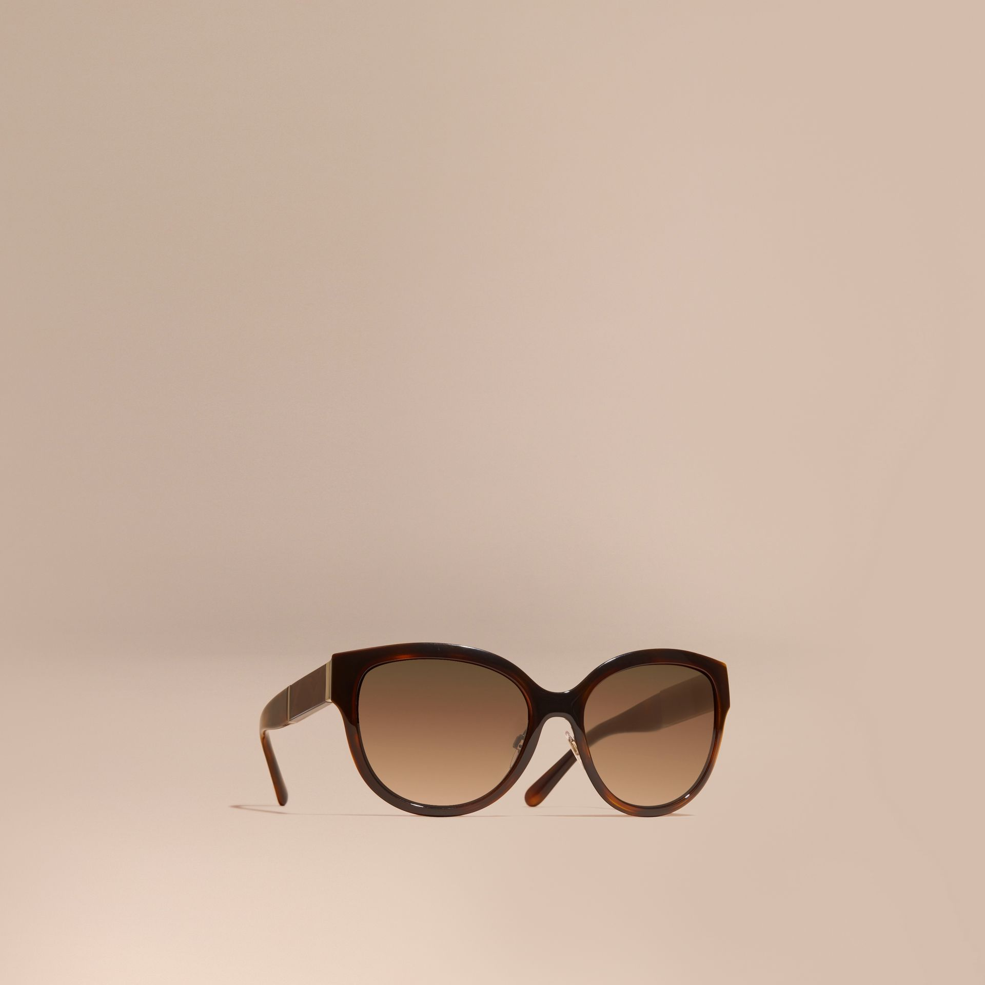 Check Detail Round Cat-eye Sunglasses Light Russet Brown - gallery image 1