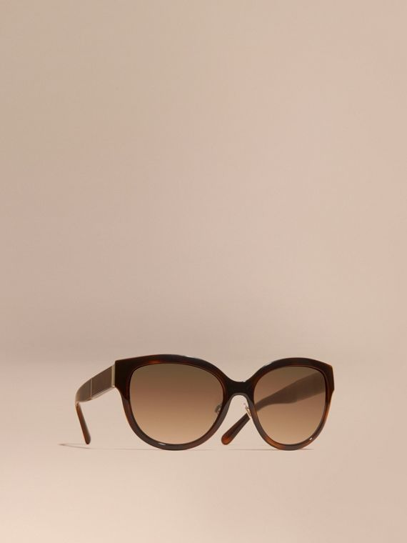 Check Detail Round Cat-eye Sunglasses Light Russet Brown