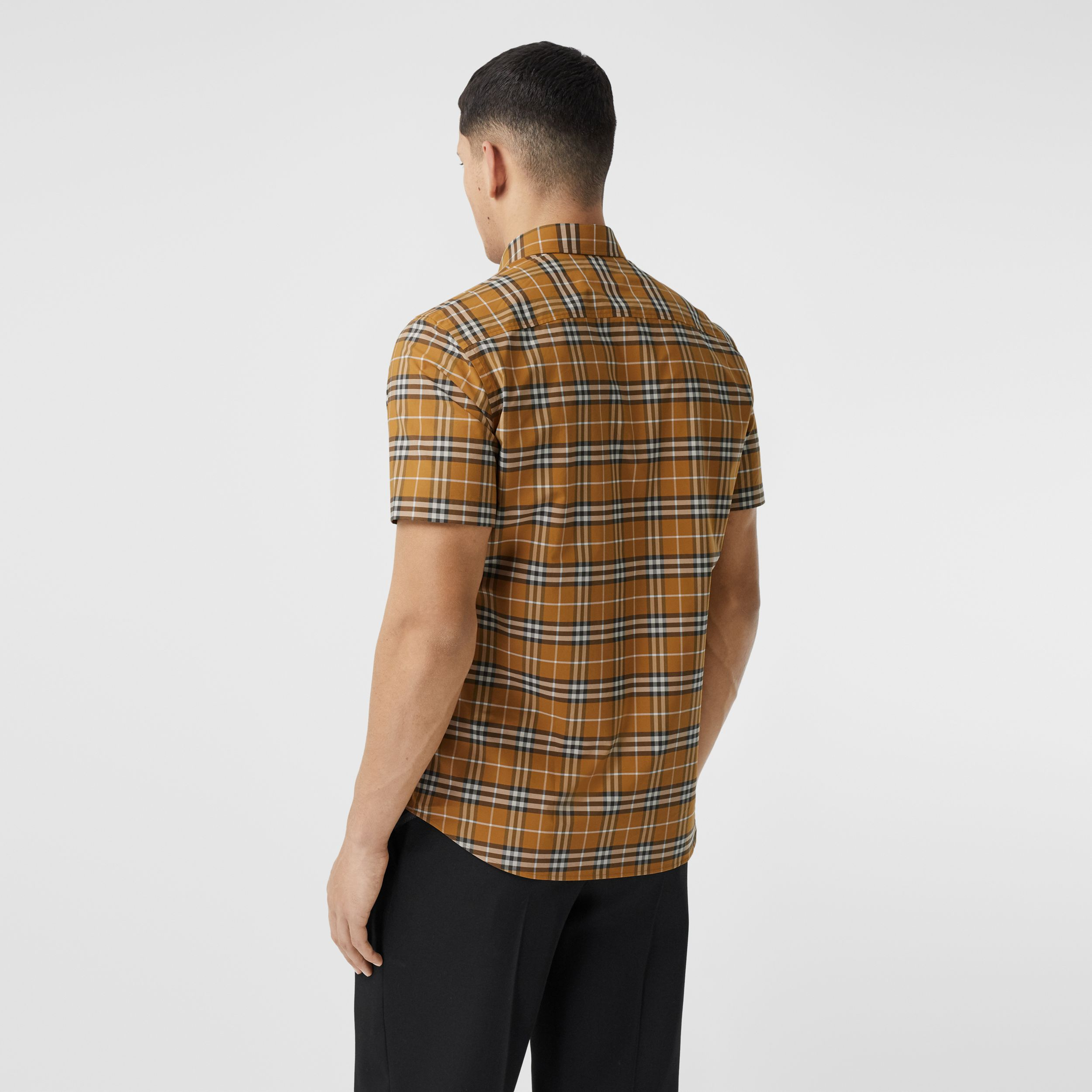 Short-sleeve Small Scale Check Stretch Cotton Shirt in Bright Toffee - Men | Burberry - 3