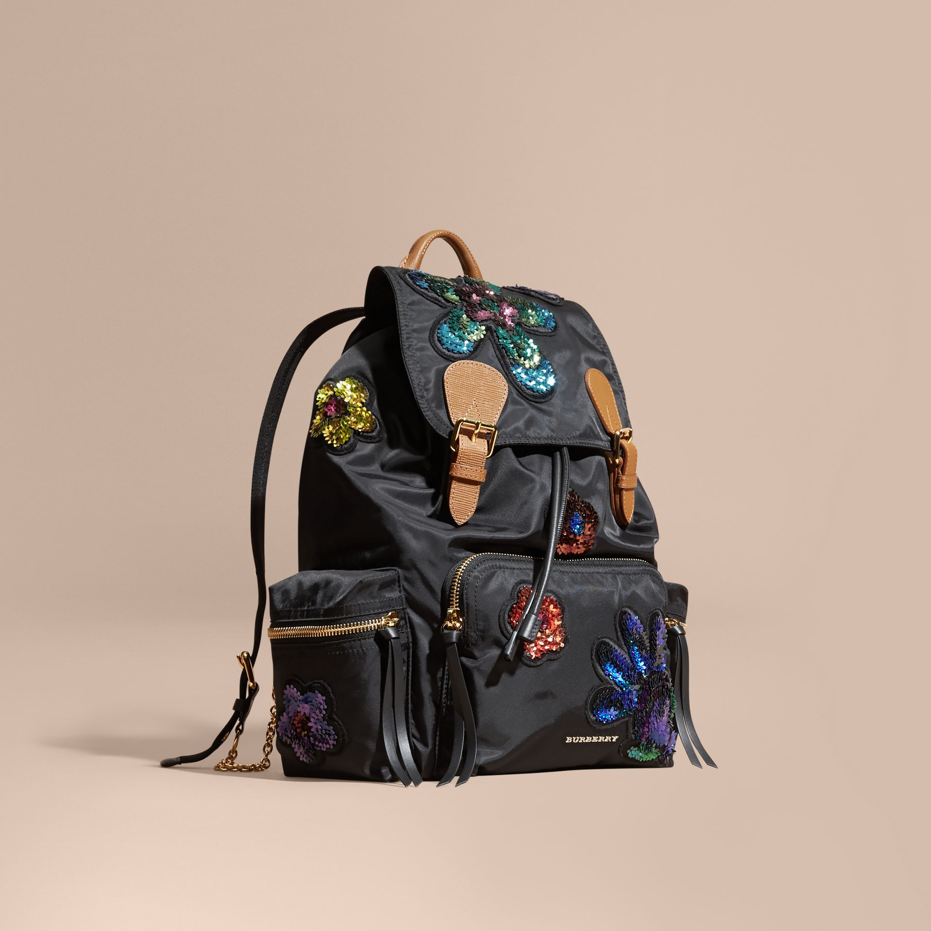 Black The Large Rucksack in Technical Nylon with Sequinned Flowers - gallery image 1