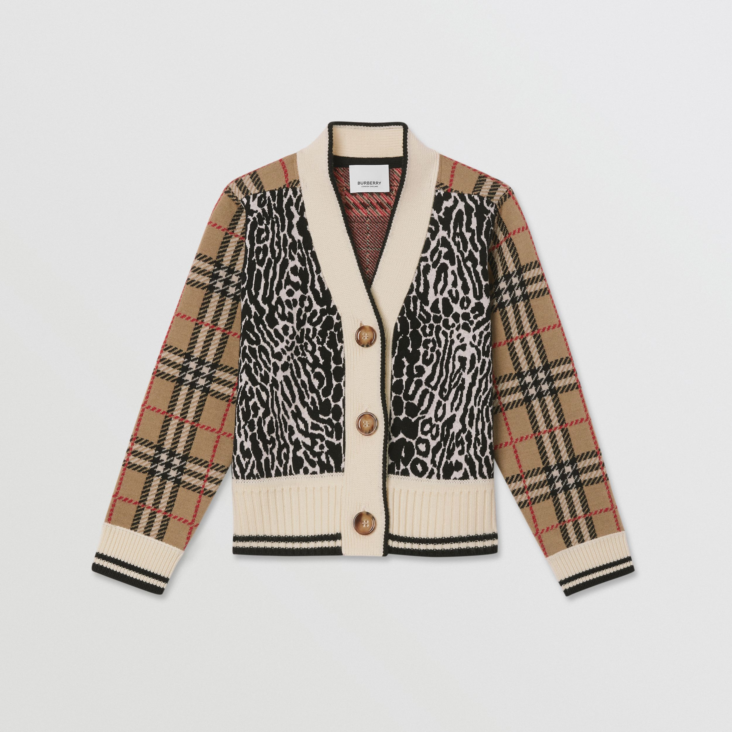 Check and Leopard Merino Wool Jacquard Cardigan in Print | Burberry - 1
