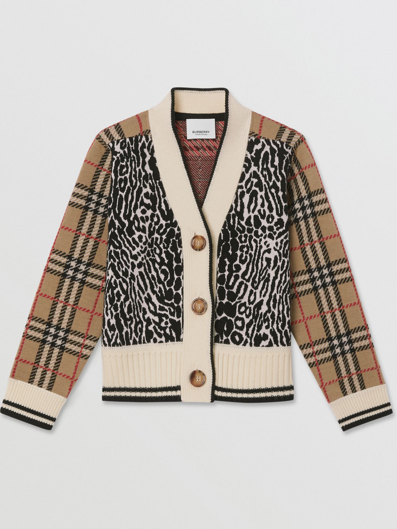 Check and Leopard Merino Wool Jacquard Cardigan in Print