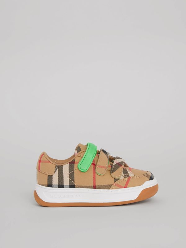 Vintage Check Sneakers in Antique Yellow/neon Green - Children | Burberry Singapore - cell image 3