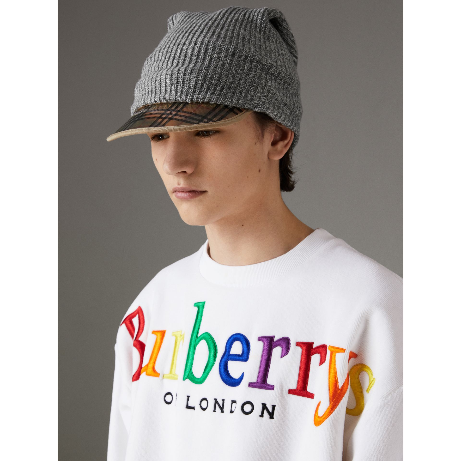 1983 Check Wool Cotton Peaked Beanie in Mid Grey Melange | Burberry United Kingdom - gallery image 3