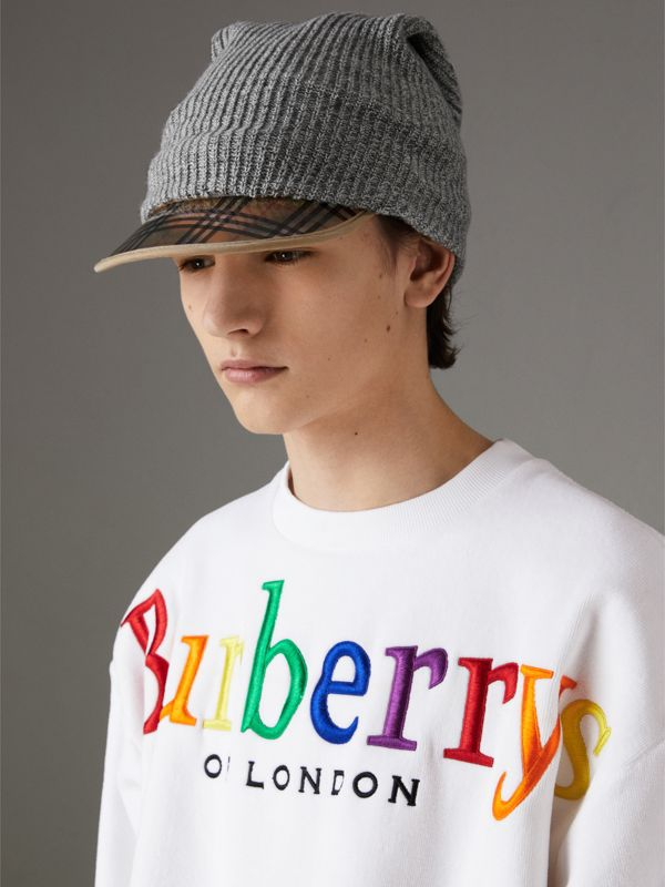 1983 Check Wool Cotton Peaked Beanie in Mid Grey Melange | Burberry Australia - cell image 3
