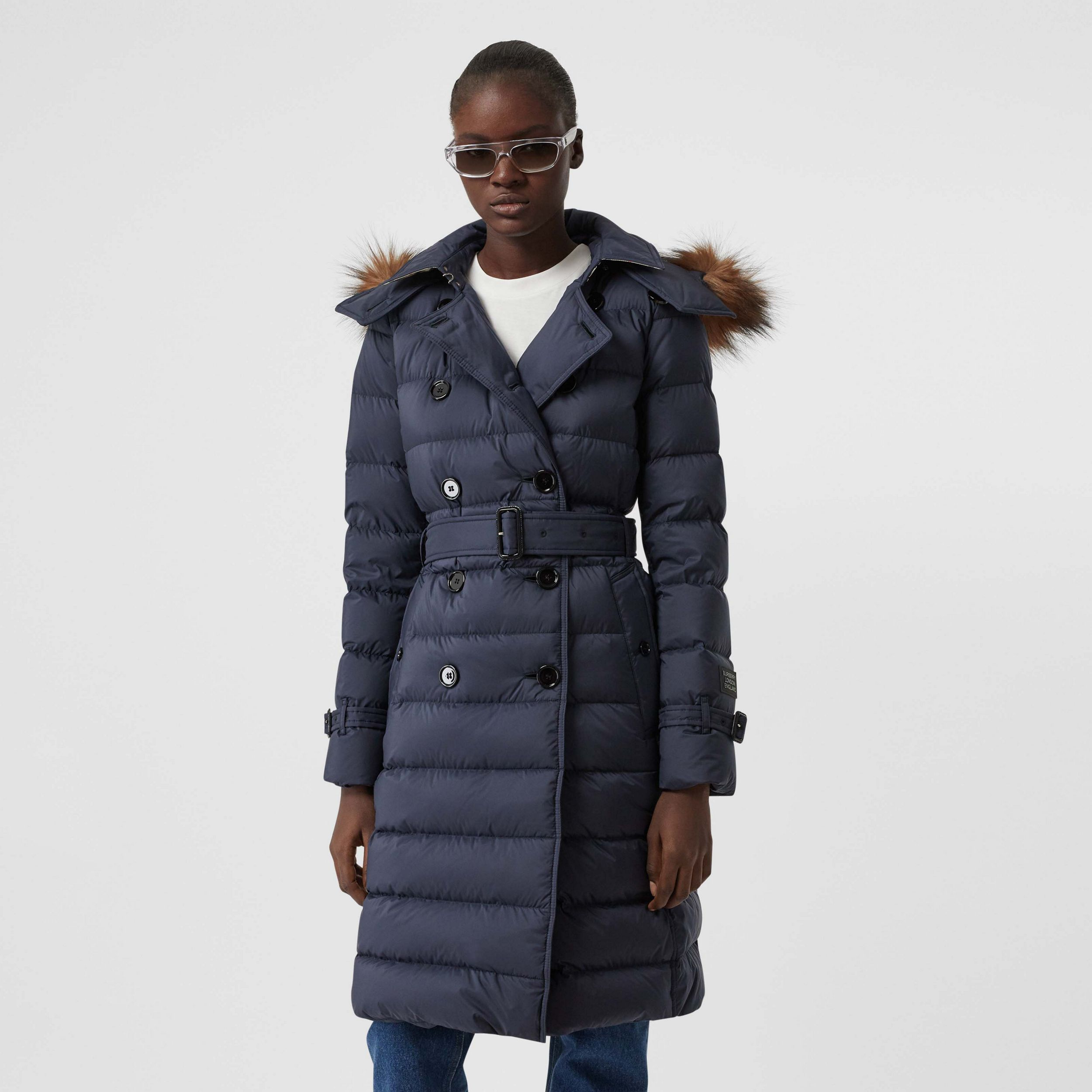 Detachable Hood Down-filled Coat in Navy - Women | Burberry Hong Kong S.A.R - 1