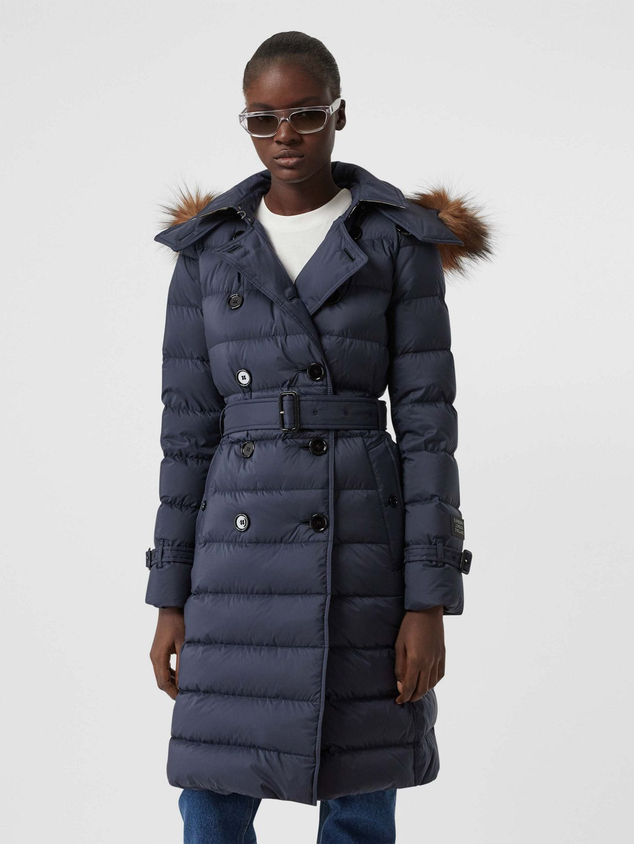 Detachable Hood Down-filled Coat in Navy