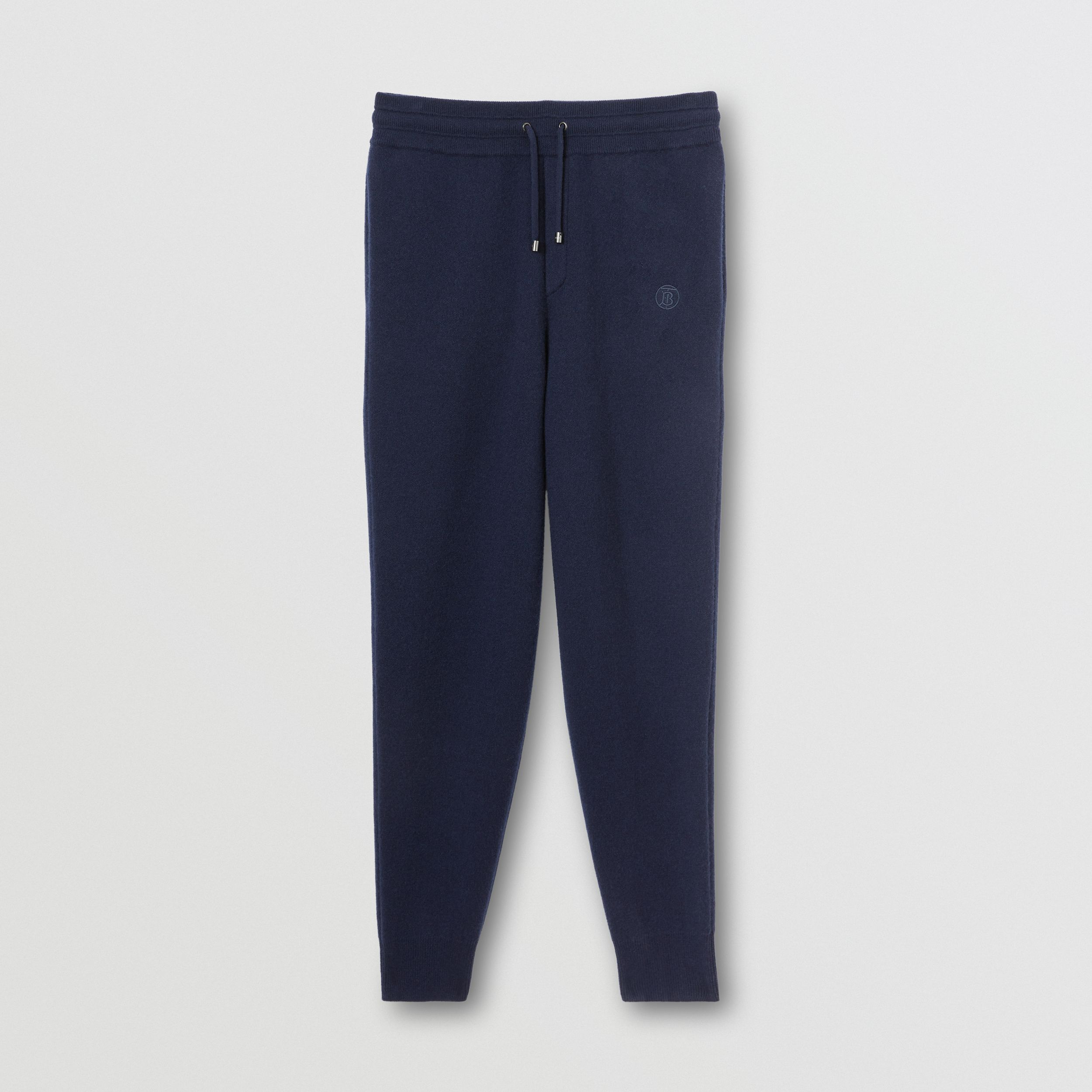 Monogram Motif Cashmere Blend Jogging Pants in Navy - Men | Burberry - 4